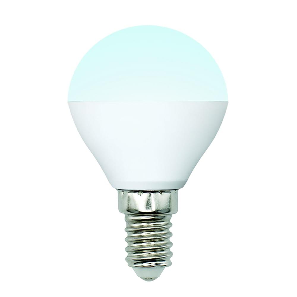 Светодиодная лампа uniel led-g45-6w/nw/e14/fr/mb plm11wh форма «шар», матовая ul-00002376