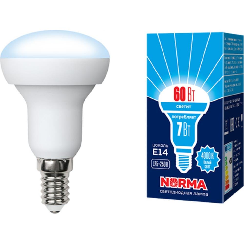 Светодиодная лампа volpe форма рефлектор, матовая led-r50-7w/nw/e14/fr/nr ul-00003844