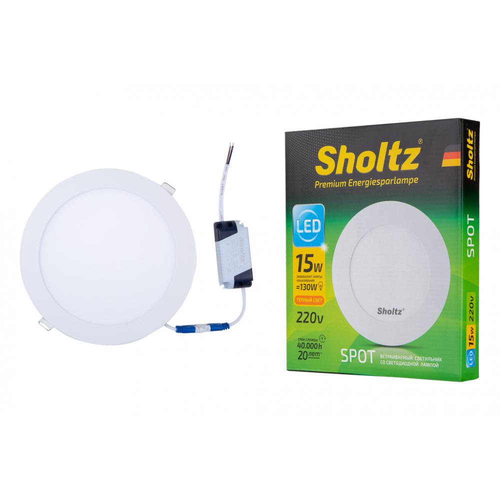 Светодиодный встраиваемый светильник sholtz 15вт 3000k 220в пластик диам.200мм ip20 los3074.