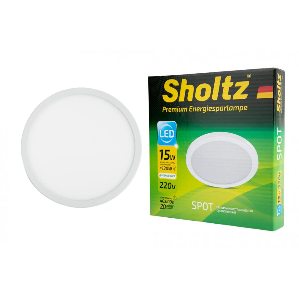 Купить Светодиодный встраиваемый светильник sholtz 15вт 4200k 220в, пластик диам.175мм ip20 los4211