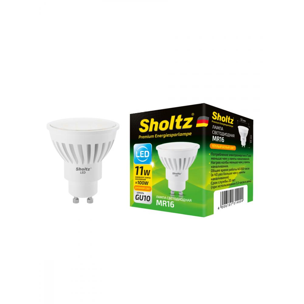 Купить Светодиодная лампа sholtz mr16 11вт gu10 2700k 220в, керамика lmr3140