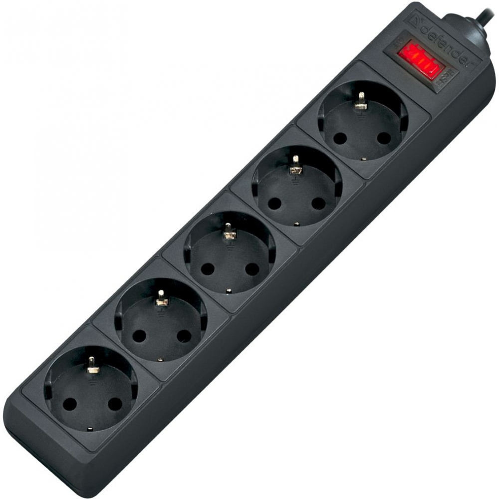 Купить Сетевой фильтр defender es 3 3 м, черный, 5 розеток 99485