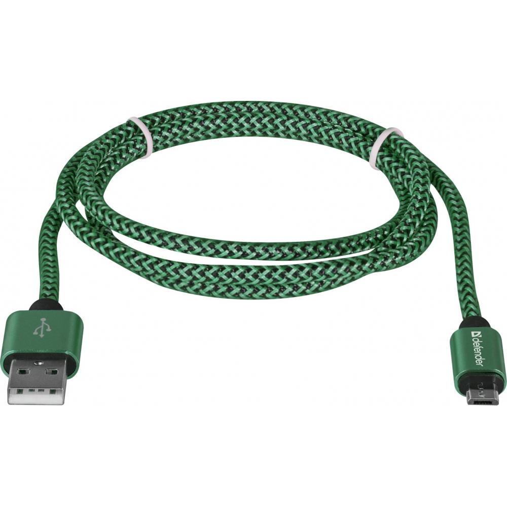 Купить Usb кабель defender usb08-03t pro usb2.0 зеленый, am-microbm, 1m, 2.1a 87804