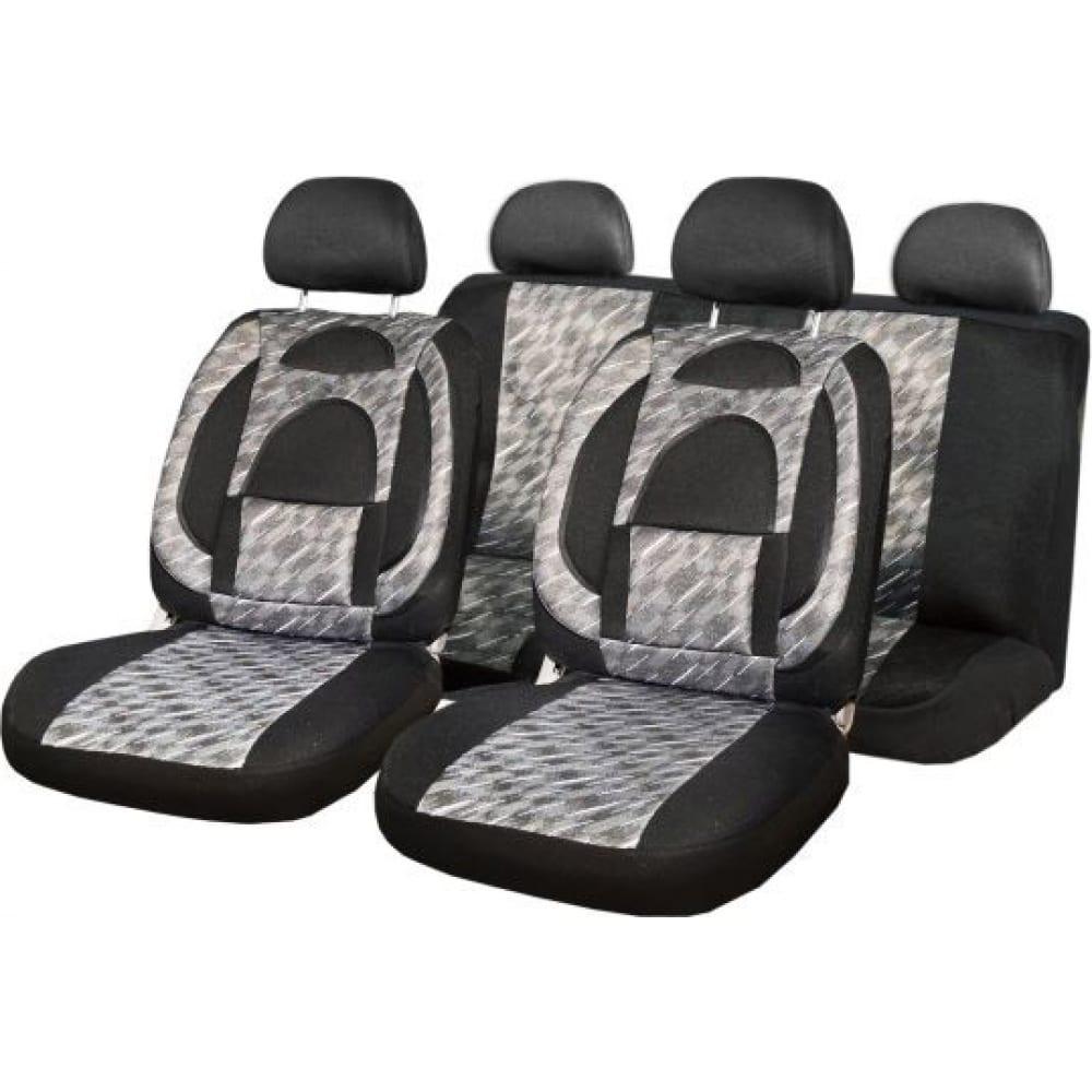 Купить Чехлы на сиденья skyway protect plus-7 жаккард, 11 предметов, черно/серый s01301035