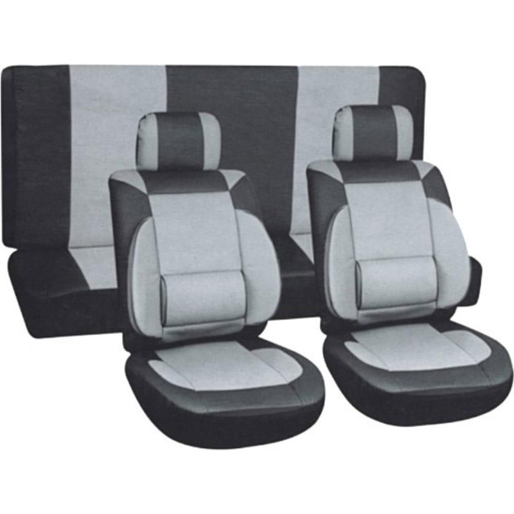 Купить Чехлы на сиденья skyway protect plus-8 экокожа/полиэстер, 11 предметов, черно/серый s01301031
