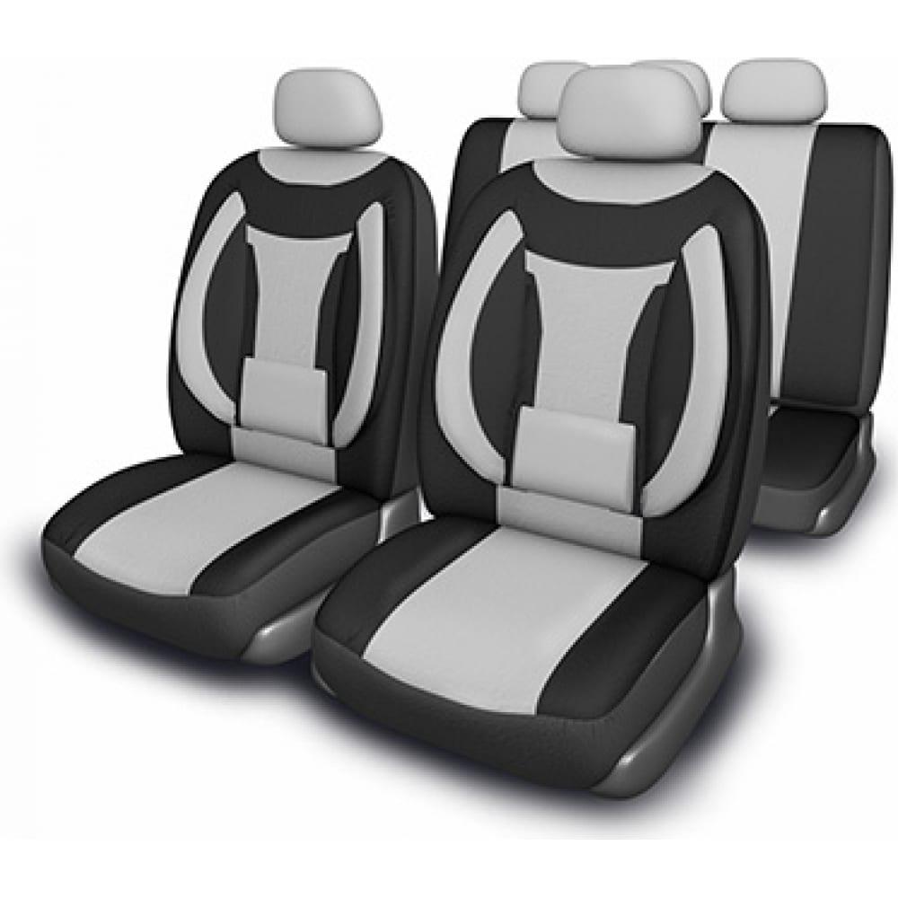 Купить Чехлы на сиденья skyway protect plus-5 велюр/сетка, 11 предметов, черно/серый s01301062