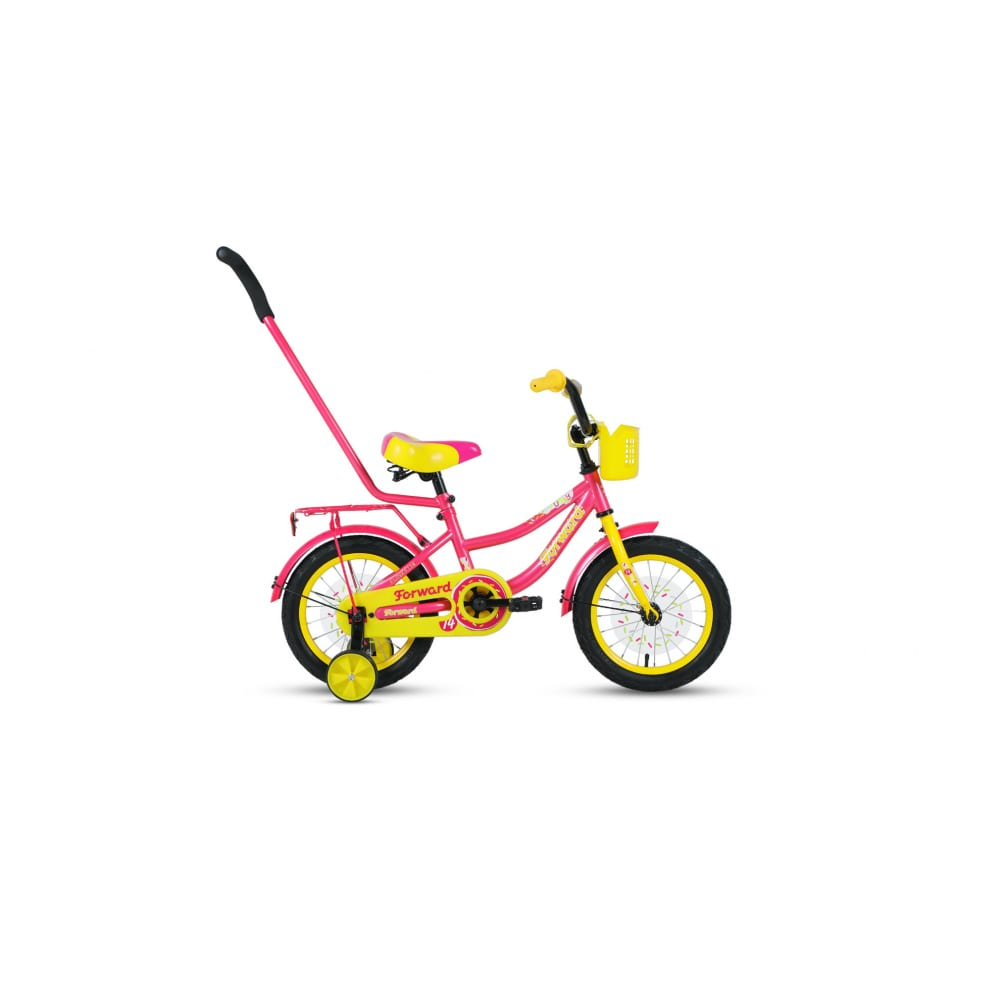 Велосипед forward funky 14, 2019 2020, желтый/фиолетовый,