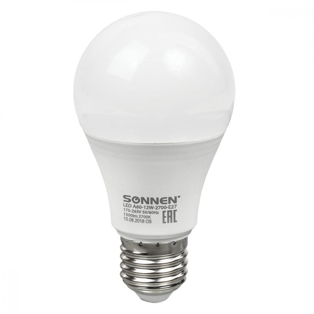 Светодиодная лампа sonnen 12вт, цоколь е27, грушевидная, теплый белый свет, led a60-12w-2700-e27  - купить со скидкой