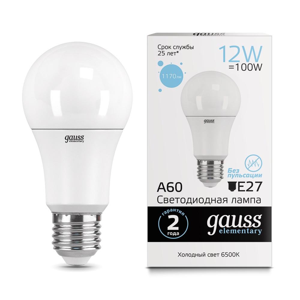 Лампа gauss led elementary a60 12w e27 1170lm 6500k 23232