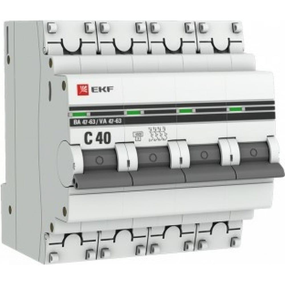 Купить Автоматический выключатель ekf 4p, 40а, 4, 5ka, ва 47-63, proxima sq mcb4763-4-40c-pro