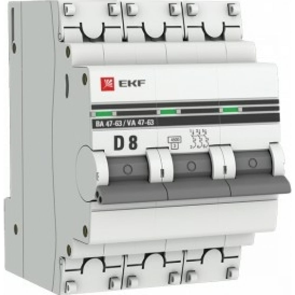 Купить Автоматический выключатель ekf 3p, 8а, 4, 5ka, ва 47-63, proxima sq mcb4763-3-08d-pro