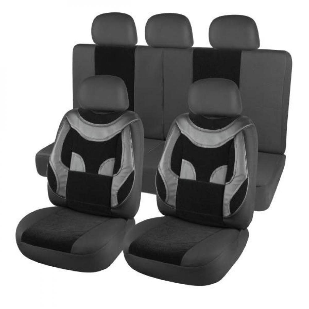 Купить Чехлы на сиденья skyway protect plus- 4 велюр/экокожа, 11 предметов, черный s01301094