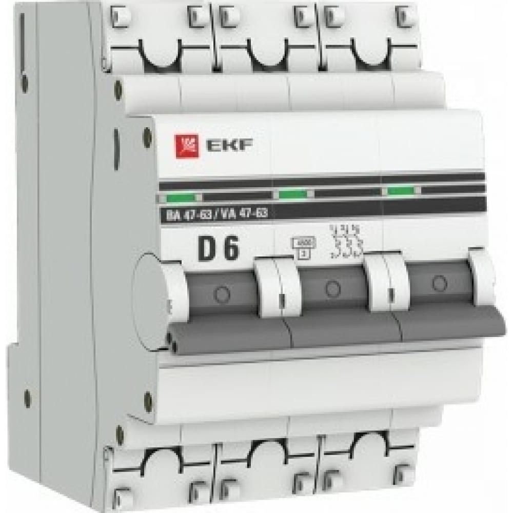 Автоматический выключатель ekf 3p 6а d 4,5ka ва 47-63 proxima sqmcb4763-3-06d-pro