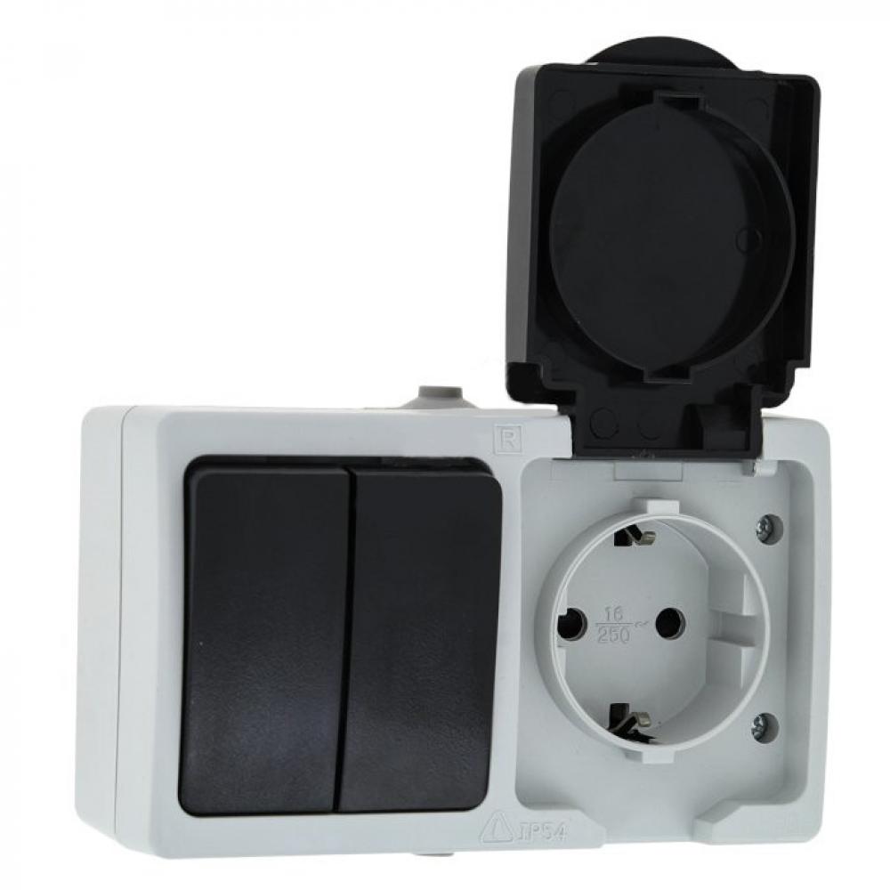Купить Блок ekf розетка-выключатель 2-кл. 16а с/з с крышкой ip54 серый, венеция proxima sqevrv16-052-30-540