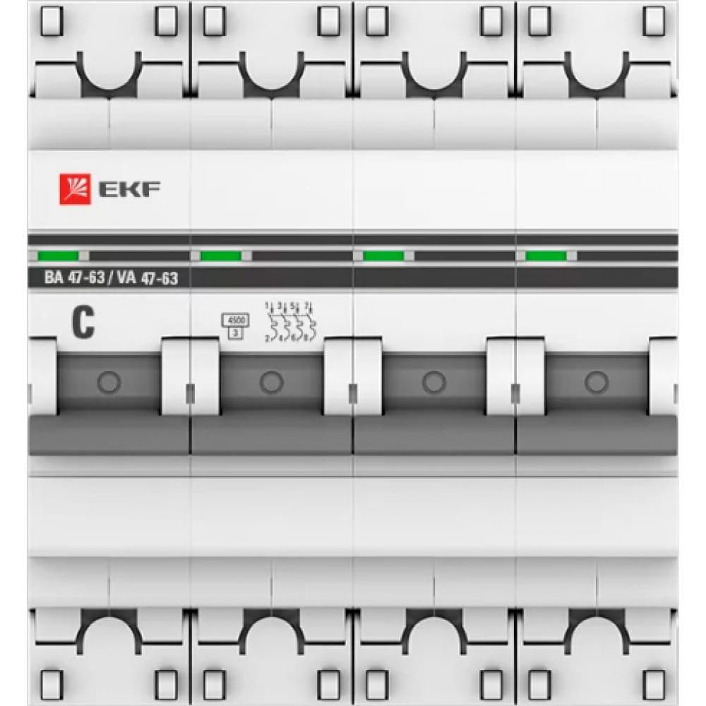 Автоматический выключатель ekf proxima ва 47-63, 4p, 10а, c, 4,5ka, sq mcb4763-4-10c-pro