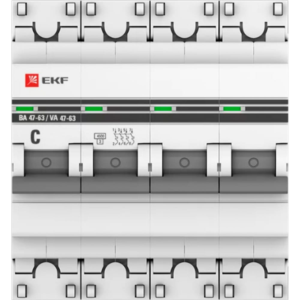 Купить Автоматический выключатель ekf proxima ва 47-63, 4p, 63а, 4, 5ka, sq mcb4763-4-63c-pro