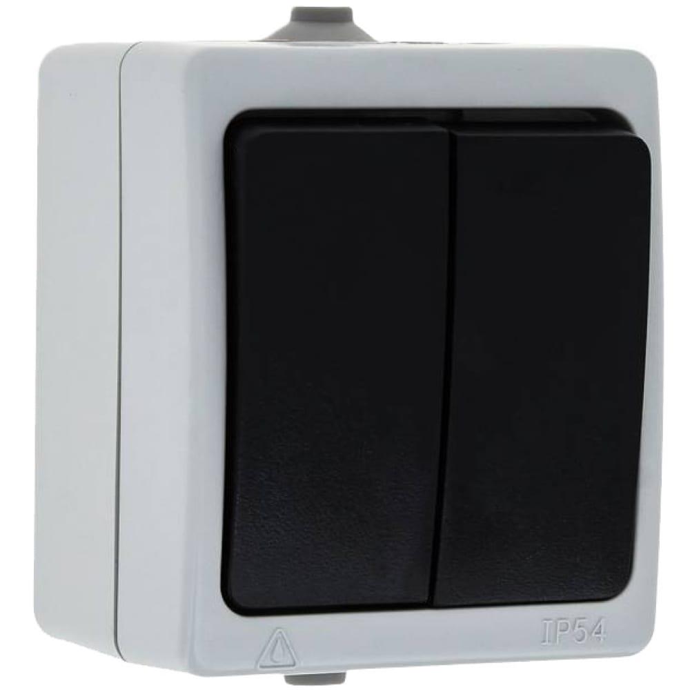 Купить 2-клавишный выключатель ekf венеция 10а ip54 серый sqevv10-023-30-54
