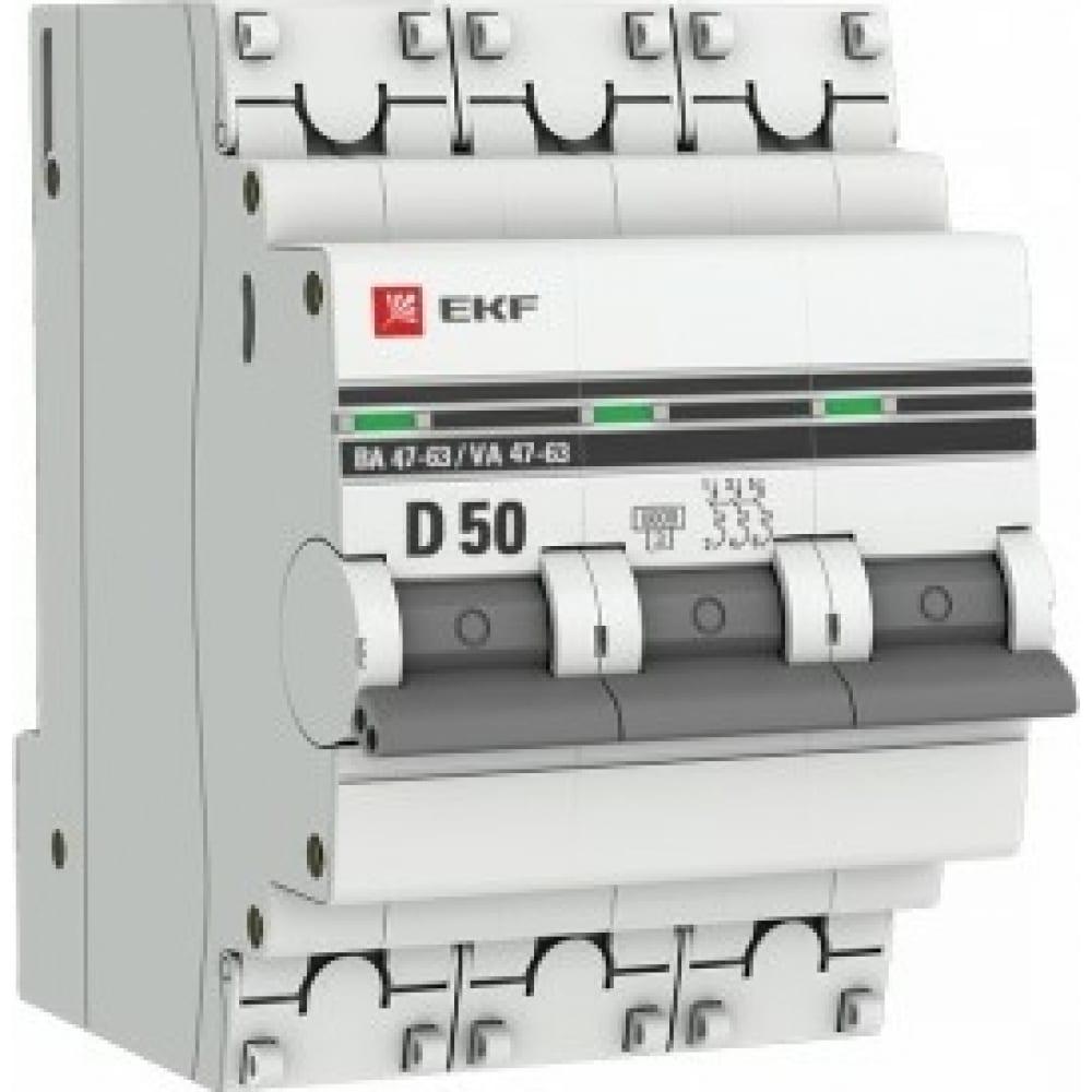 Купить Автоматический выключатель ekf 3p, 50а, 6ка, ва 47-63, proxima sq mcb4763-6-3-50d-pro