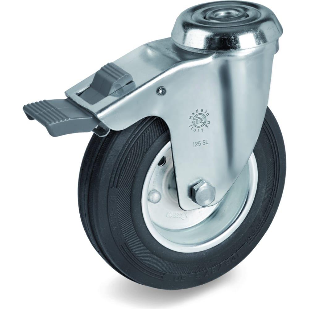 Купить Колесо поворотное с тормозом, с отверстием под болт (125х12 мм; 130 кг) tellure rota 536203
