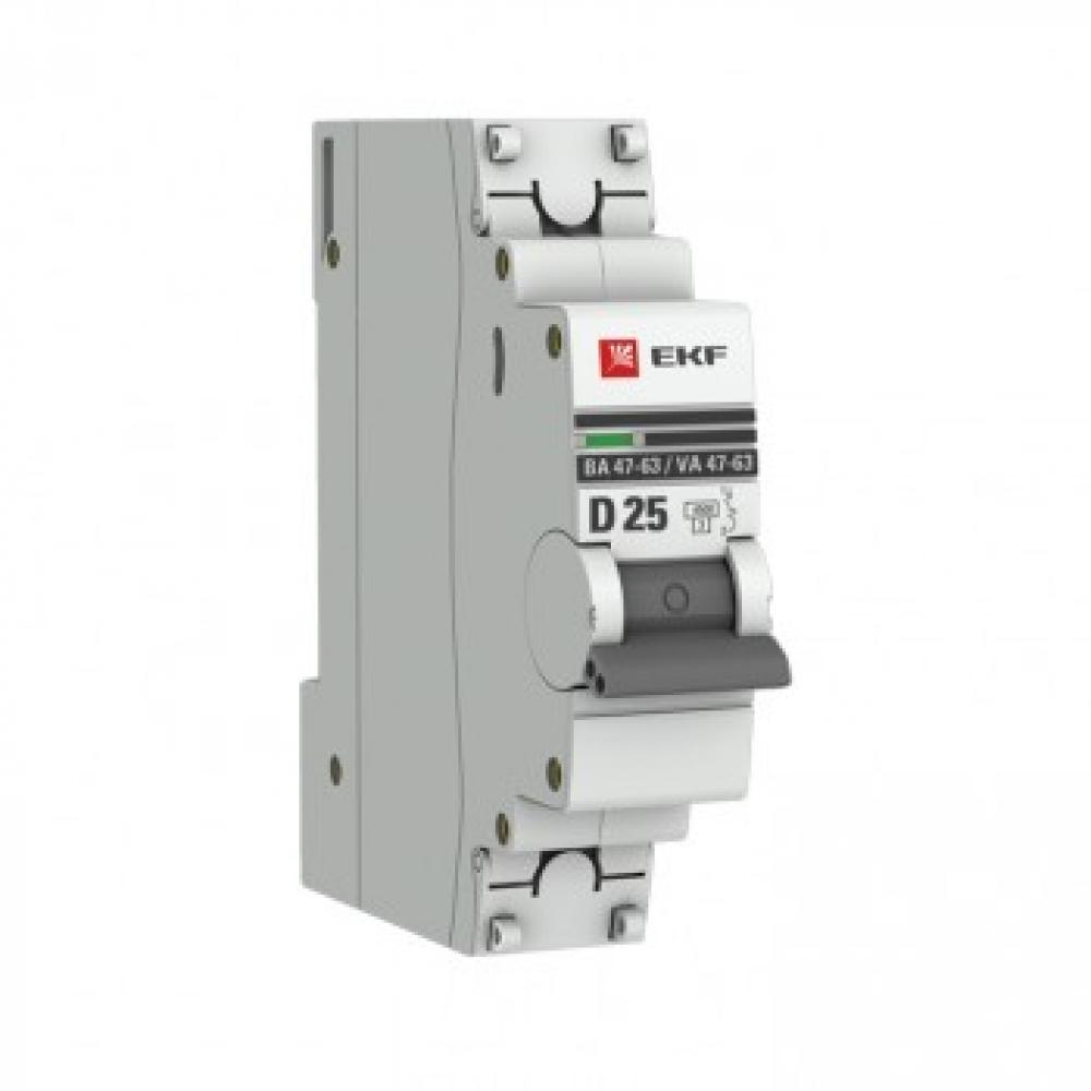 Купить Автоматический выключатель ekf 1p, 25а, d, 4, 5ka, ва 47-63, proxima sq mcb4763-1-25d-pro