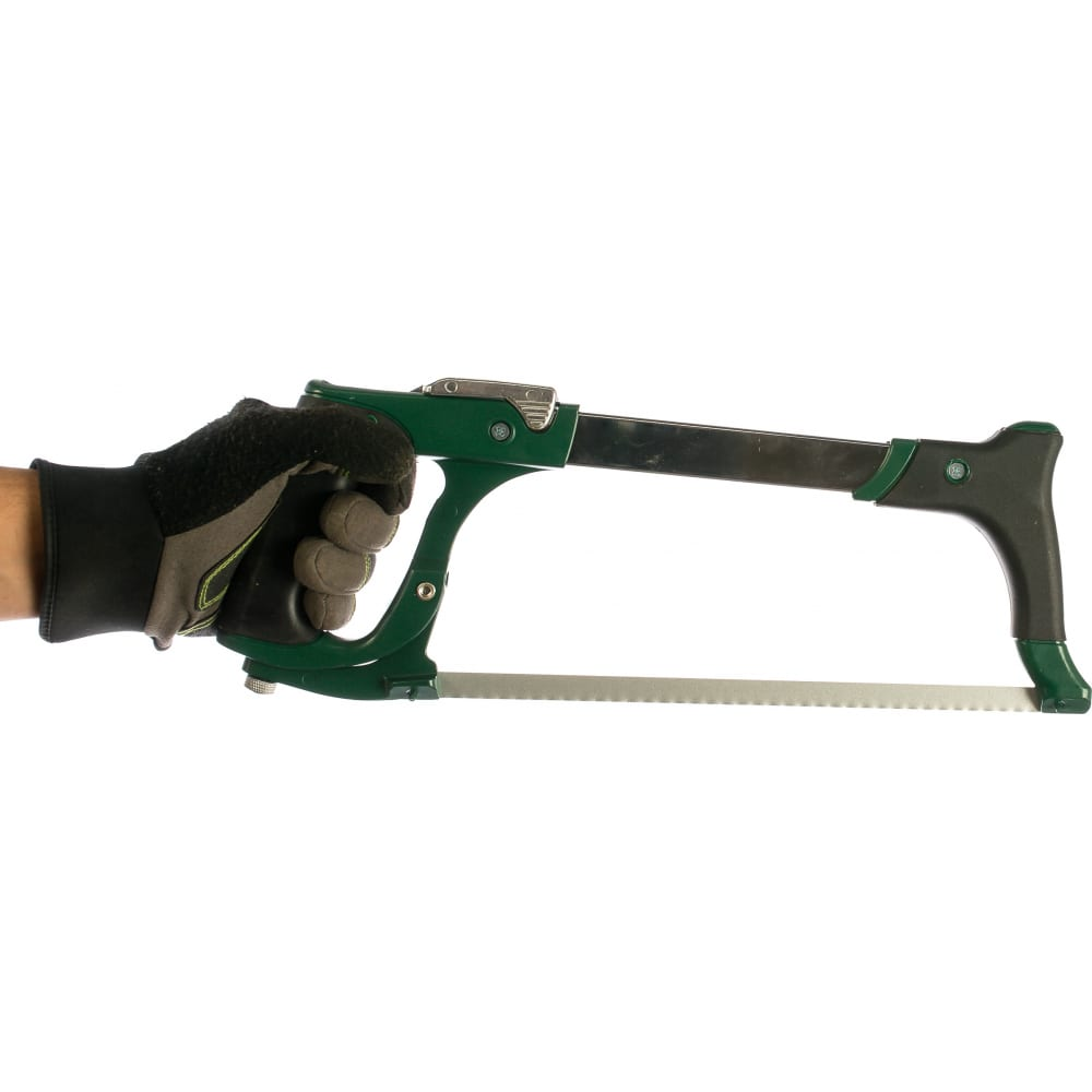 """Ножовка kraftool """"industrie"""" по металлу, би-металл полотно, рычажная, особо высокое натяжение полотна, обрезин рукоятка, 300мм 15802_z01"""