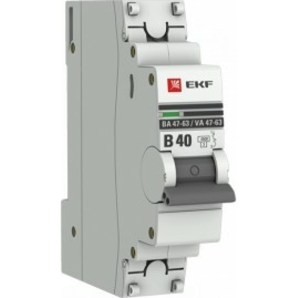 Автоматический выключатель ekf 1p, 40а, 4,5ka, ва 47-63, proxima sq mcb4763-1-40b-pro