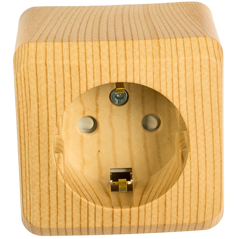 Розетка schneider electric 1-м оп этюд дача 16а с заземлением, защитные шторки сосна sche pa16-004d