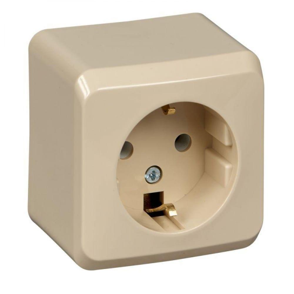 Розетка schneider electric 1-м оп этюд дача 16а с заземлением, защитные шторки, бук sche pa16-004t