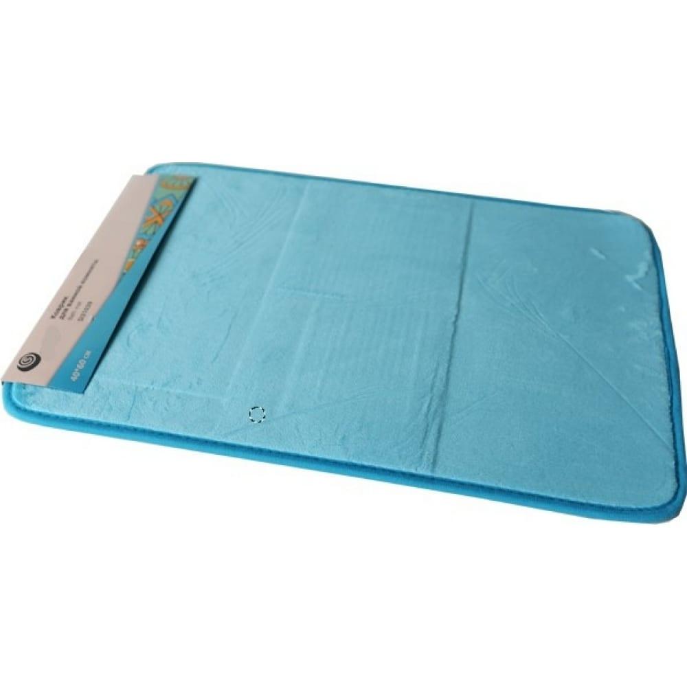 Купить Коврик для ванной sibo 40*60 см, голубой, полиэстер, подложка пвх si31039