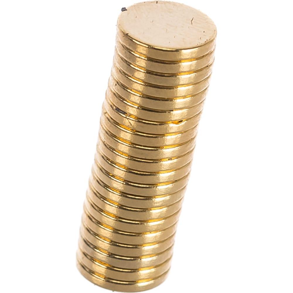 Неодимовый магнит диск 10х1.5 мм, золотой, 20шт