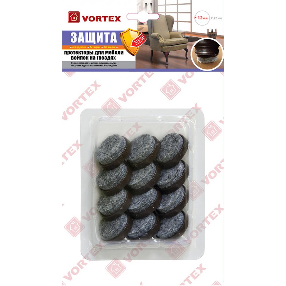 Протекторы для мебели vortex войлок на гвоздях 26013