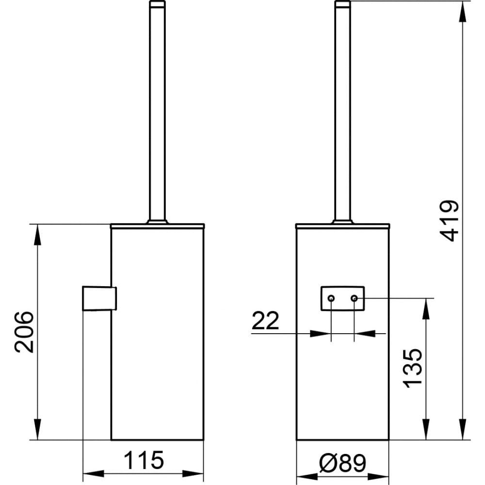 Туалетный подвесной ершик keuco collection moll хром/белый