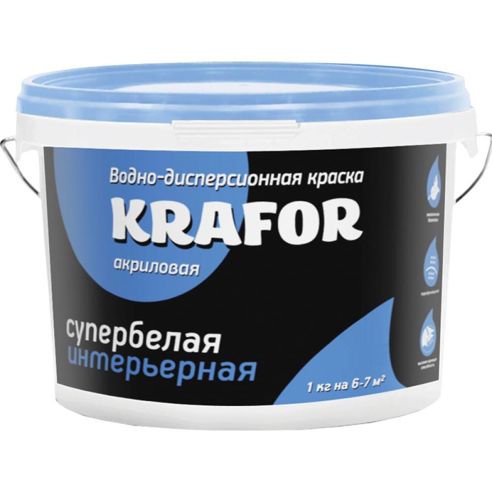 Купить Интерьерная водно-дисперсная краска krafor супербелая 3 кг 26959