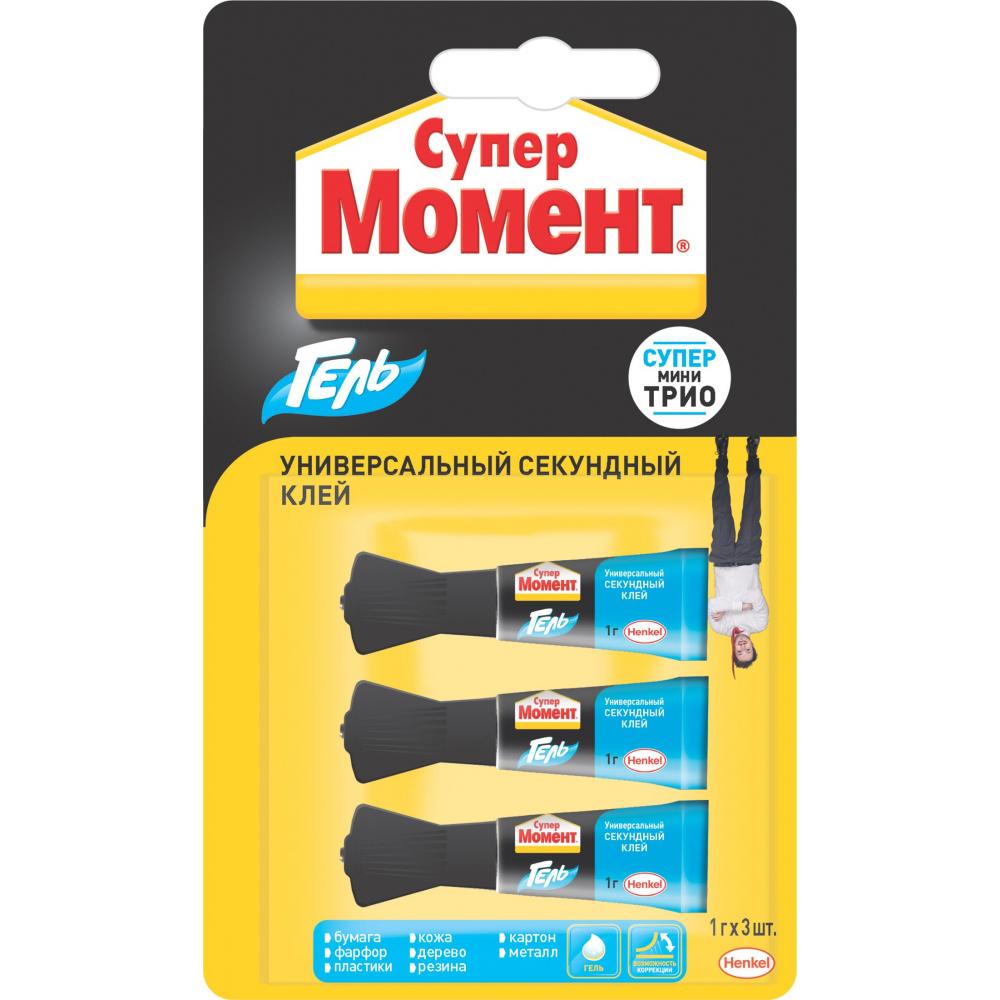 Купить Супер-клей момент гель 1 г блистер 3 шт. 2349304 шб kfuo б0039104