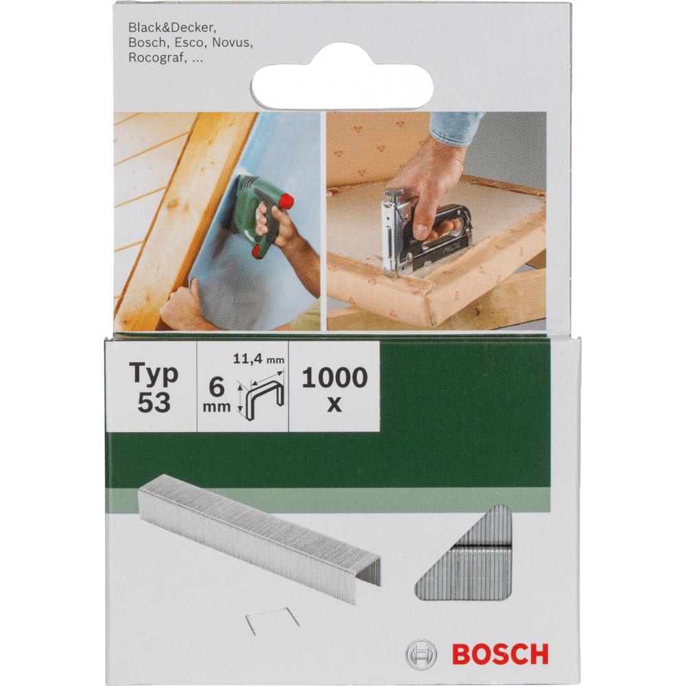Скобы для степлера bosch t53 6 мм 1000 шт. 2609255819