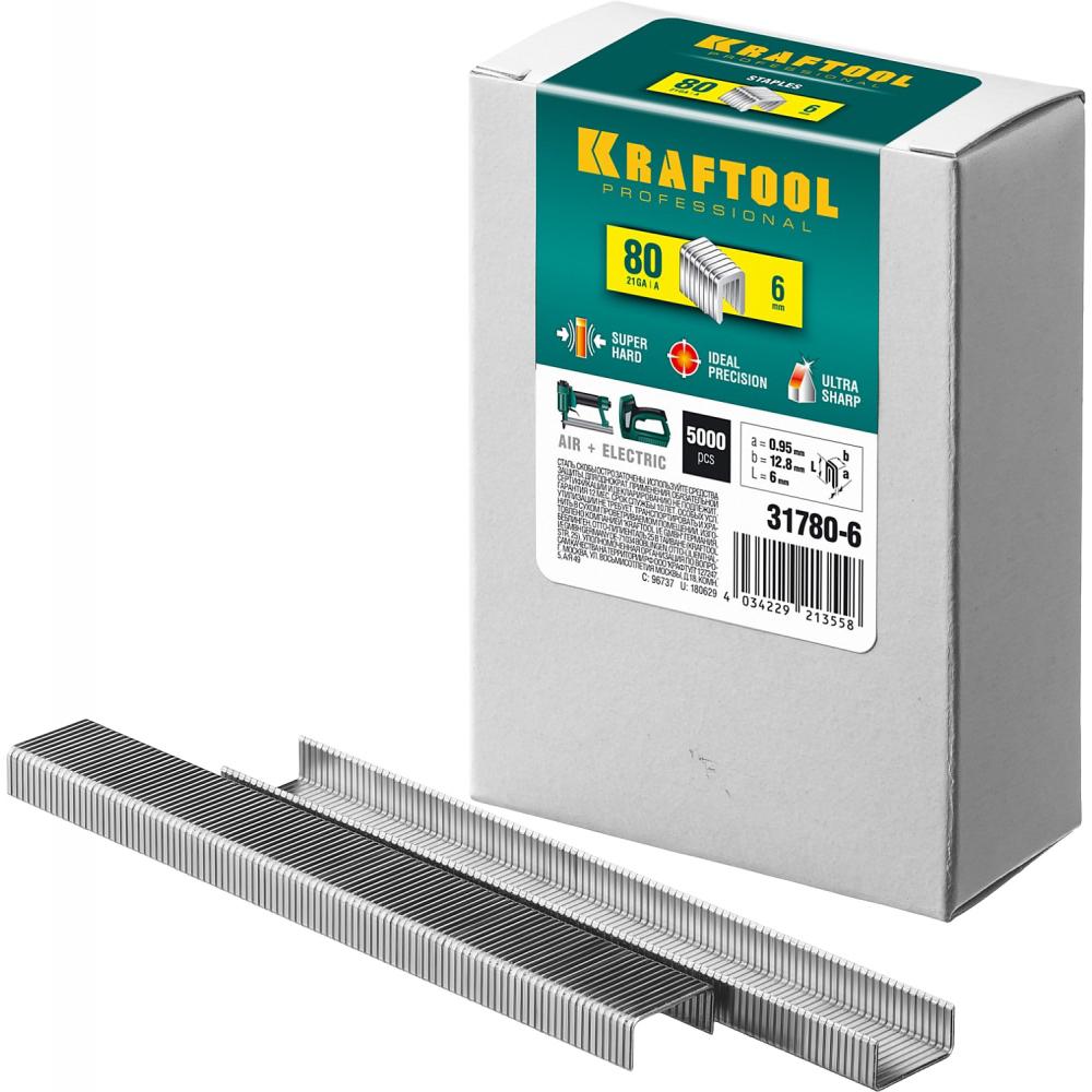 Закаленные скобы для степлера kraftool тип 80 6 мм 5000 шт. 31780-6