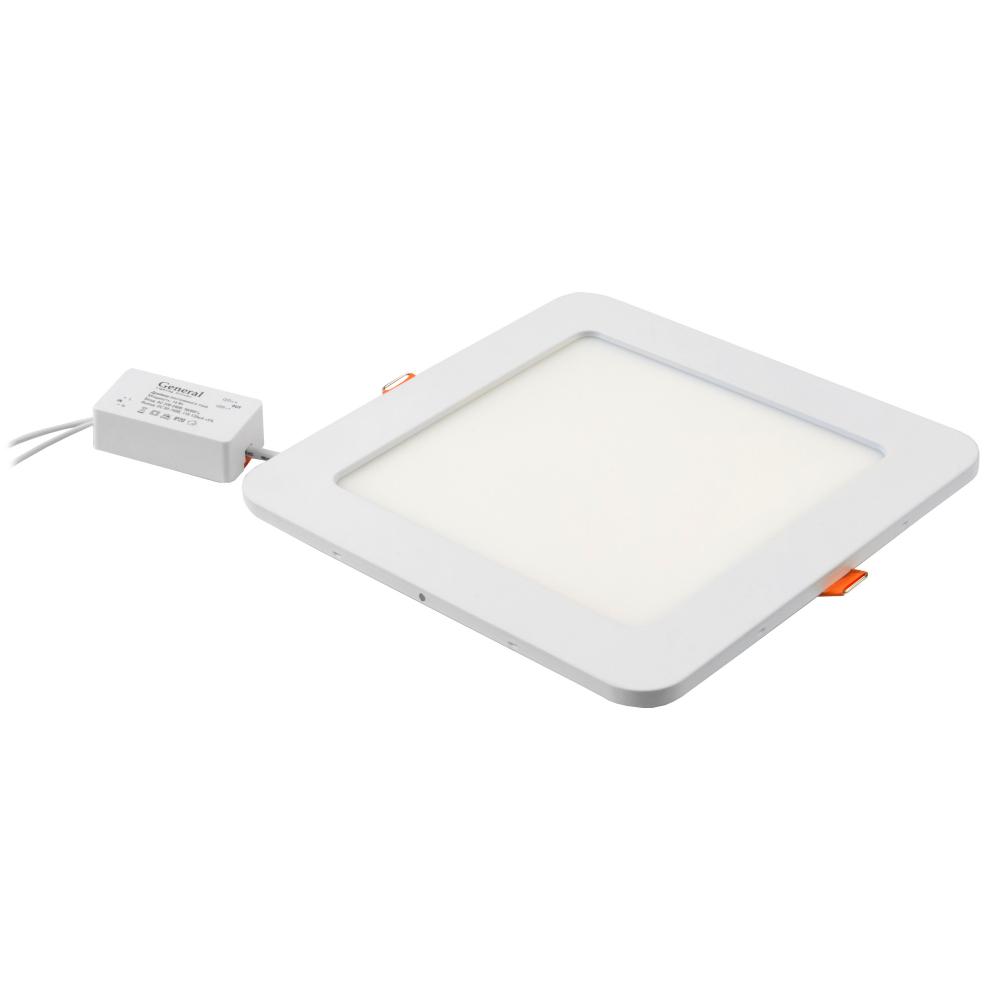 Светодиодный встраиваемый светильник general lighting systems квадрат 14w 924лм 168*168 413400  - купить со скидкой