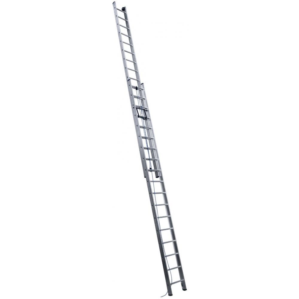 Купить Выдвижная алюминиевая двухсекционная лестница с тросом алюмет 3210 2х10 sr 3210