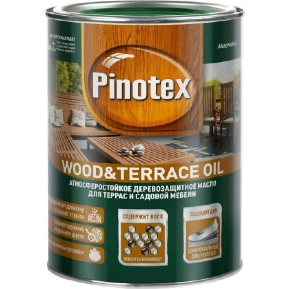 Деревозащитное масло pinotex wood & terrace oil для садовой мебели и терасс, бесцветный 1л 5220306