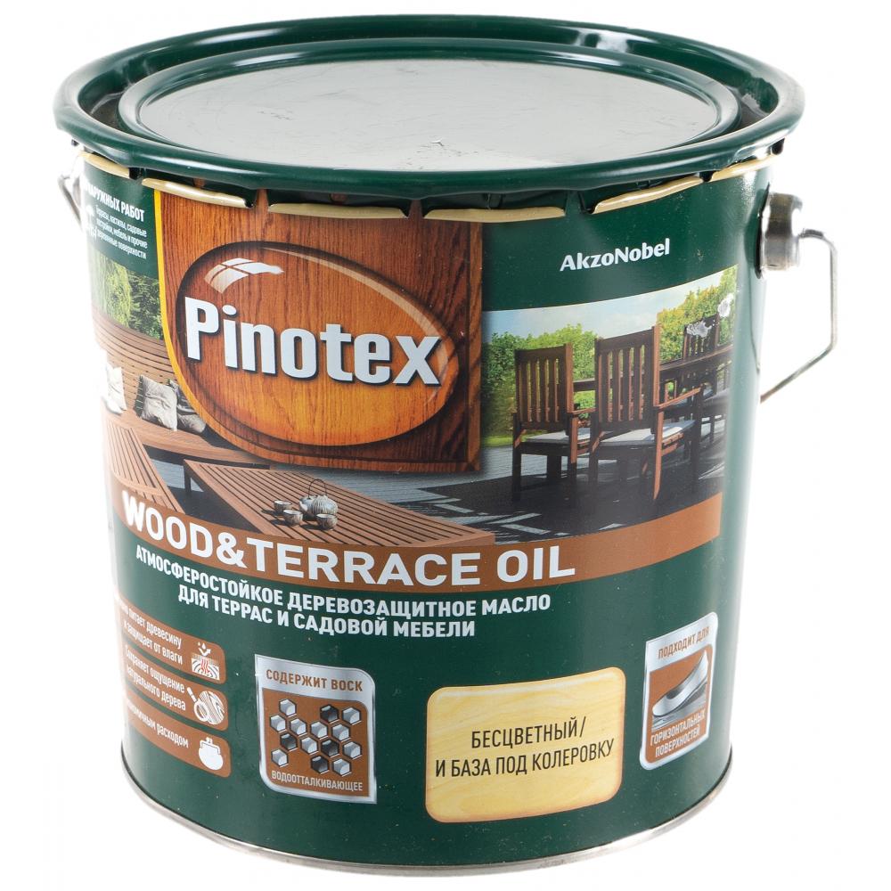 Деревозащитное масло pinotex wood & terrace oil для садовой мебели и терасс, бесцветный 2,7л 5220309