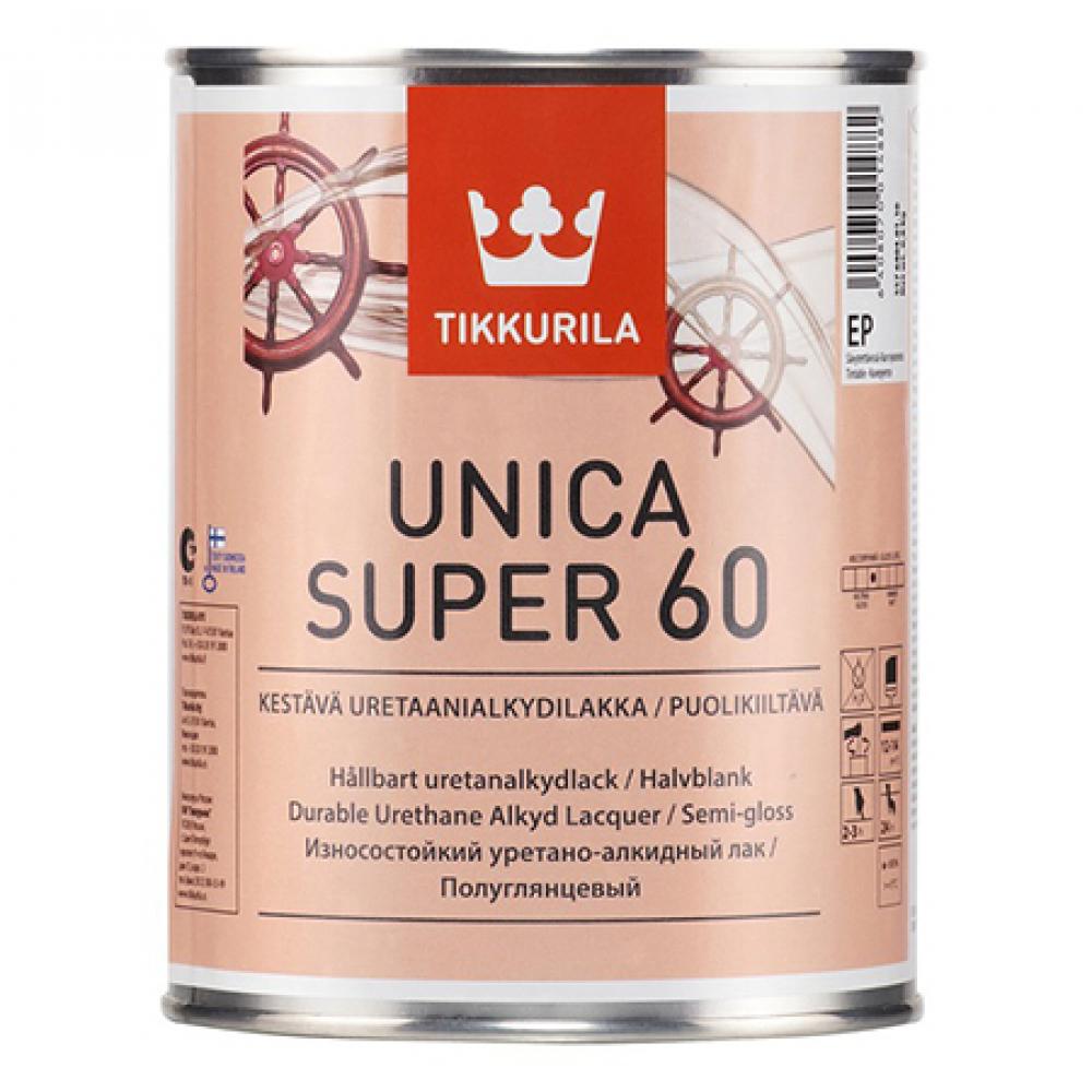 Купить Лак tikkurila unica super 60 алкидно уретановый универсальный, износостойкий, полуглянцевый 9л 55764040160