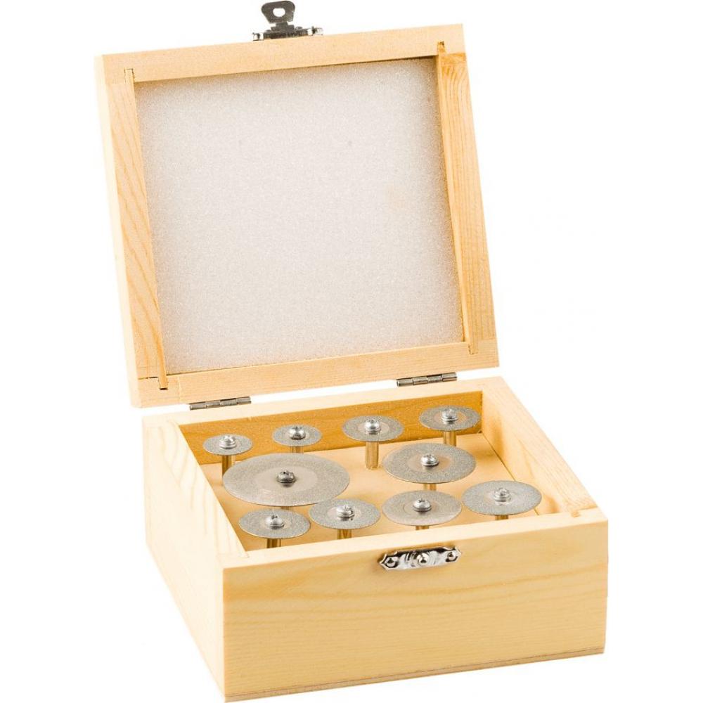 Купить Набор мини-кругов зубр с алмазным напылением на шпильке в пластиковом боксе диаметр 16-40 p200 хвостовик 3 мм, 10 предметов 33385-h10