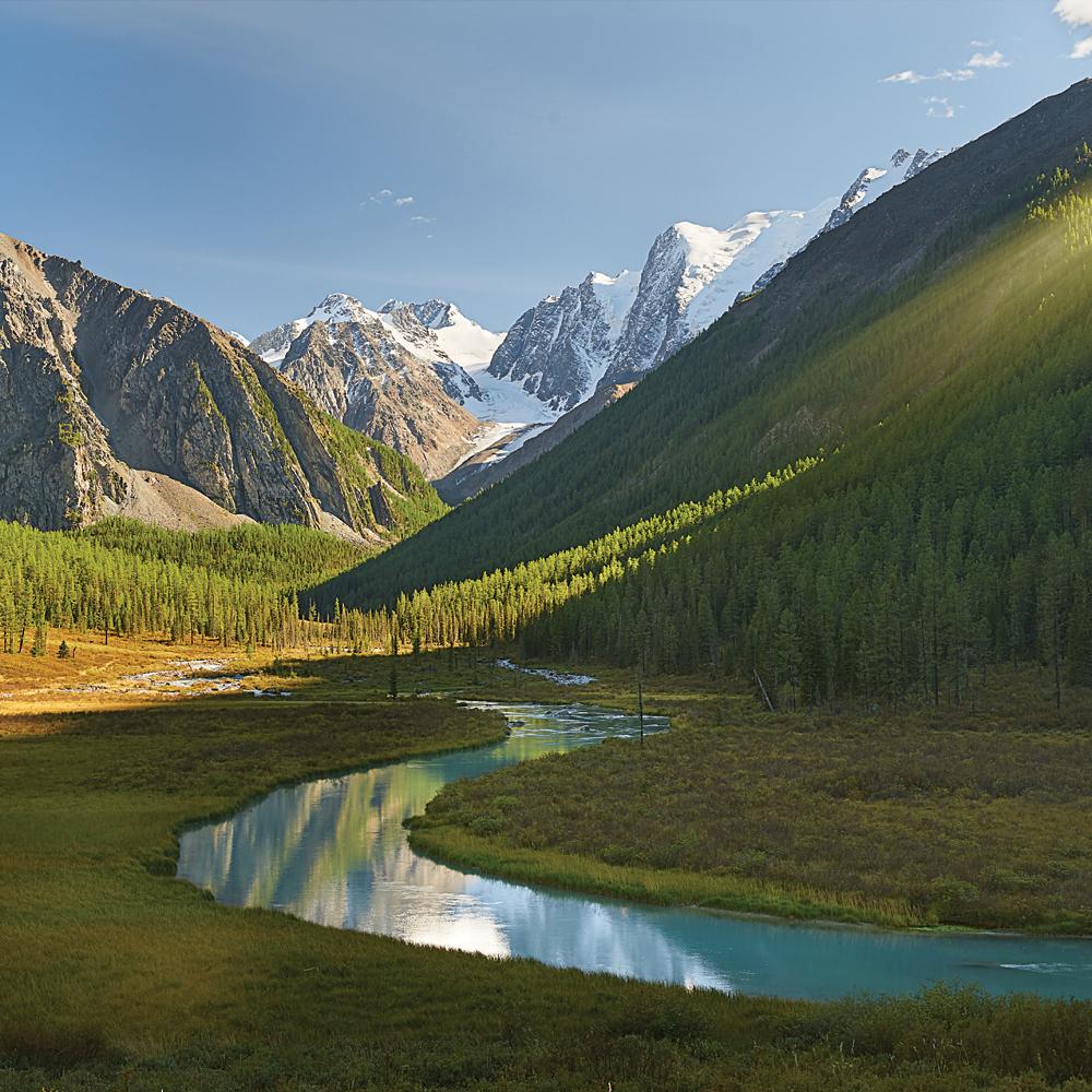 Картина на стекле декоретто горная река