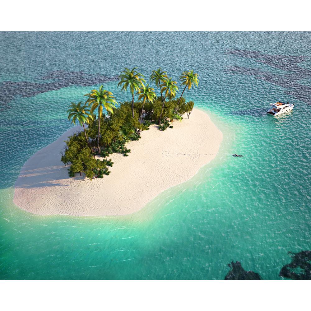 Картина на стекле декоретто островок в океане