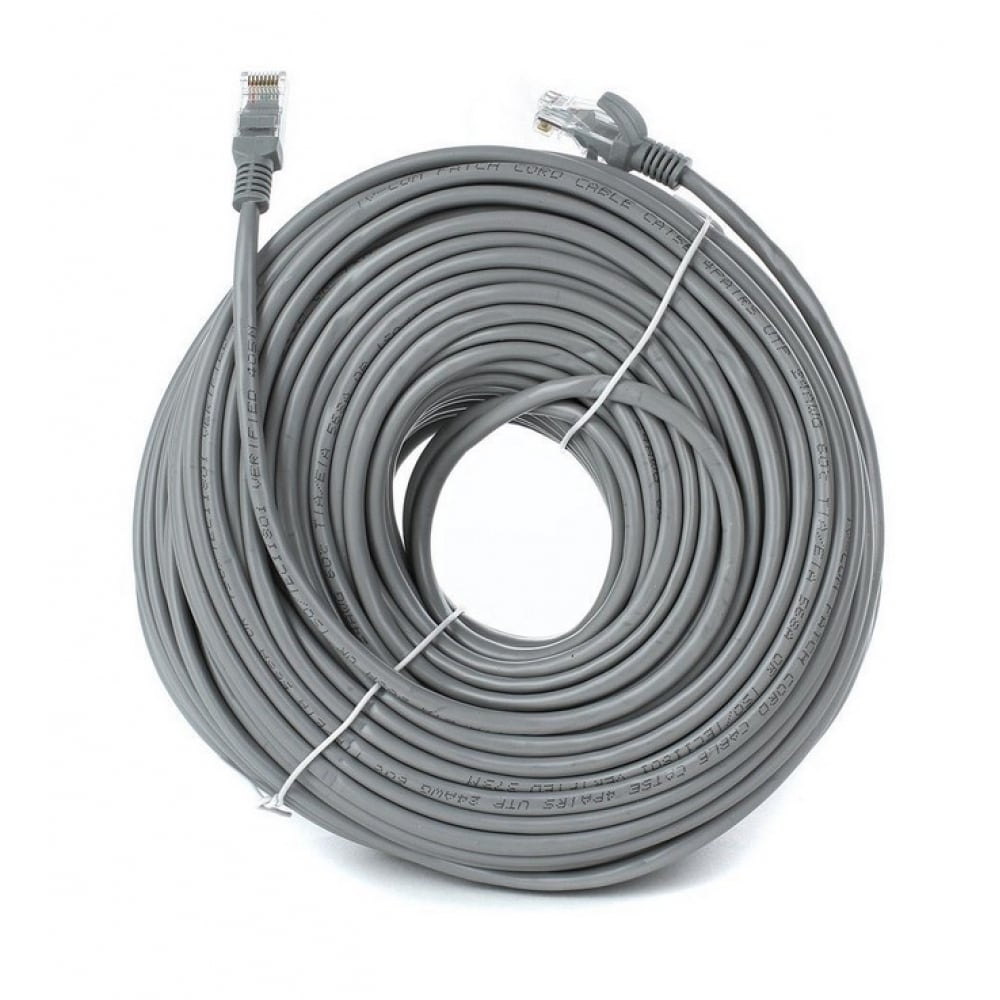 Купить Литой многожильный патчкорд tv-com utp категории 5е 50м серый np511-50m np511-50