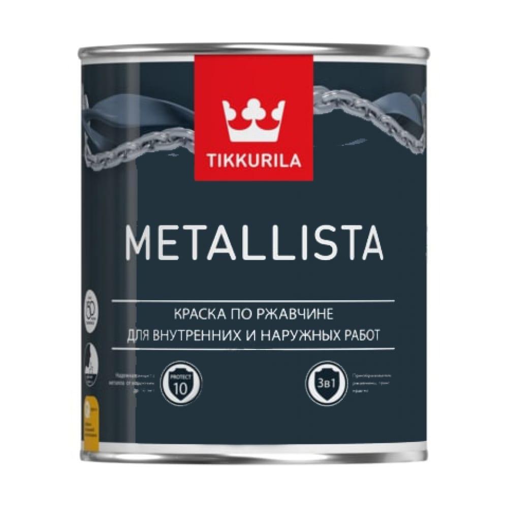 Купить Краска tikkurila metallista по ржавчине 3 в 1, молотковая, глянцевая, черный 2, 5л 700011719