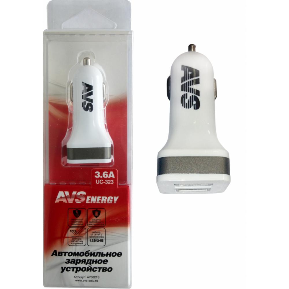Купить Usb автомобильное зарядное устройство avs 2 порта uc-323 3, 6 а a78021s