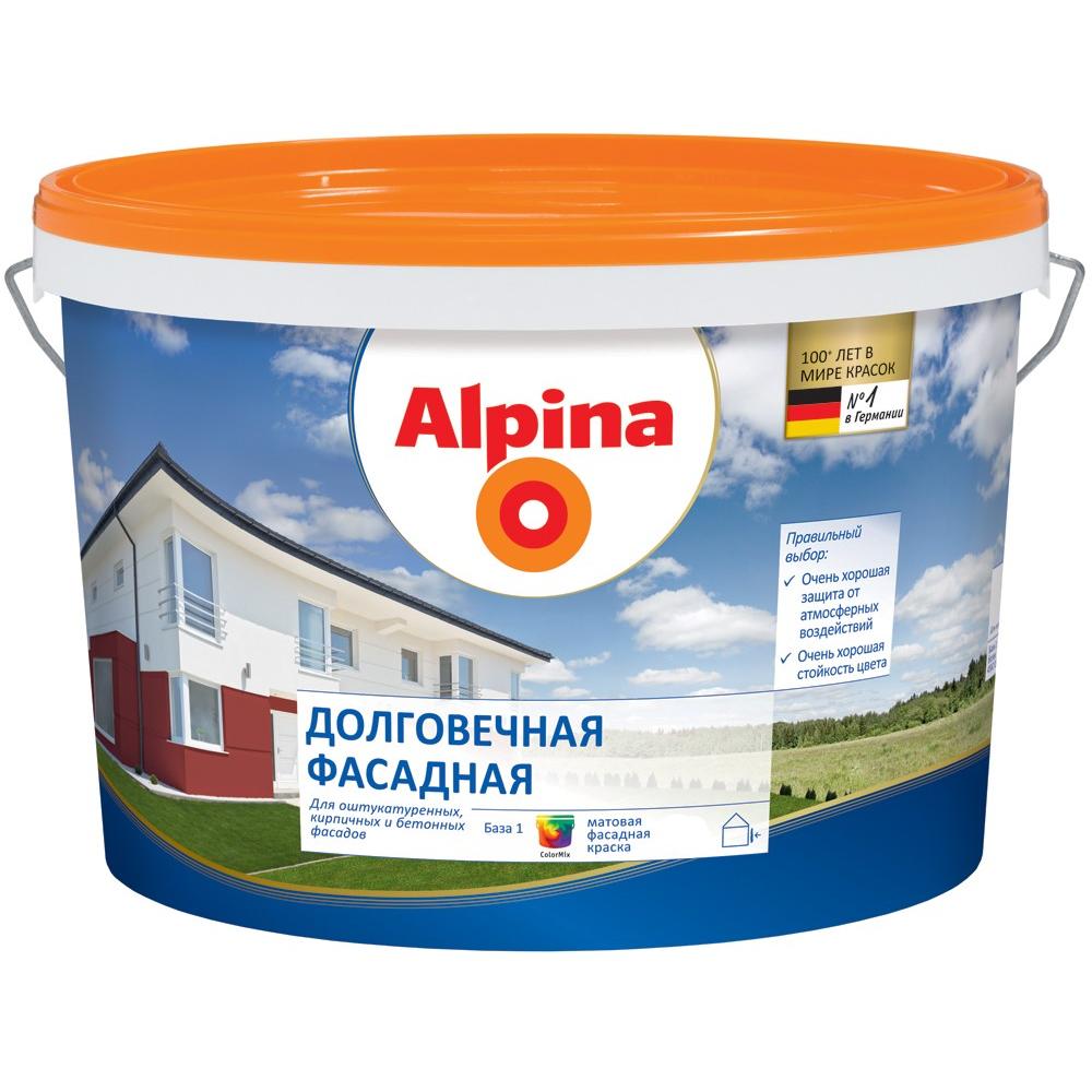 Купить Краска alpina new долговечная фасадная fassadenweiss водоотталкивающая, база-1 10л 948102066