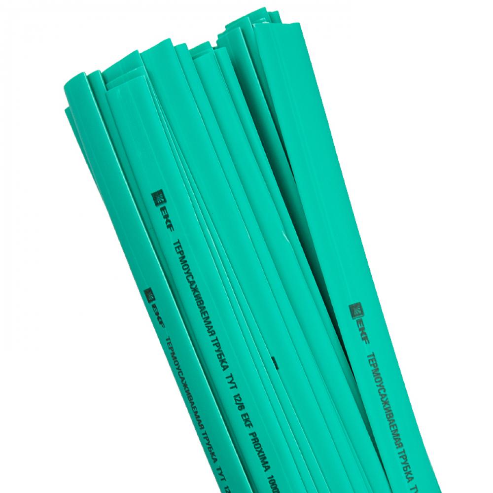 Термоусаживаемая трубка ekf тут 12/6 зеленая в отрезках по 1м proxima sqtut-12-j-1m