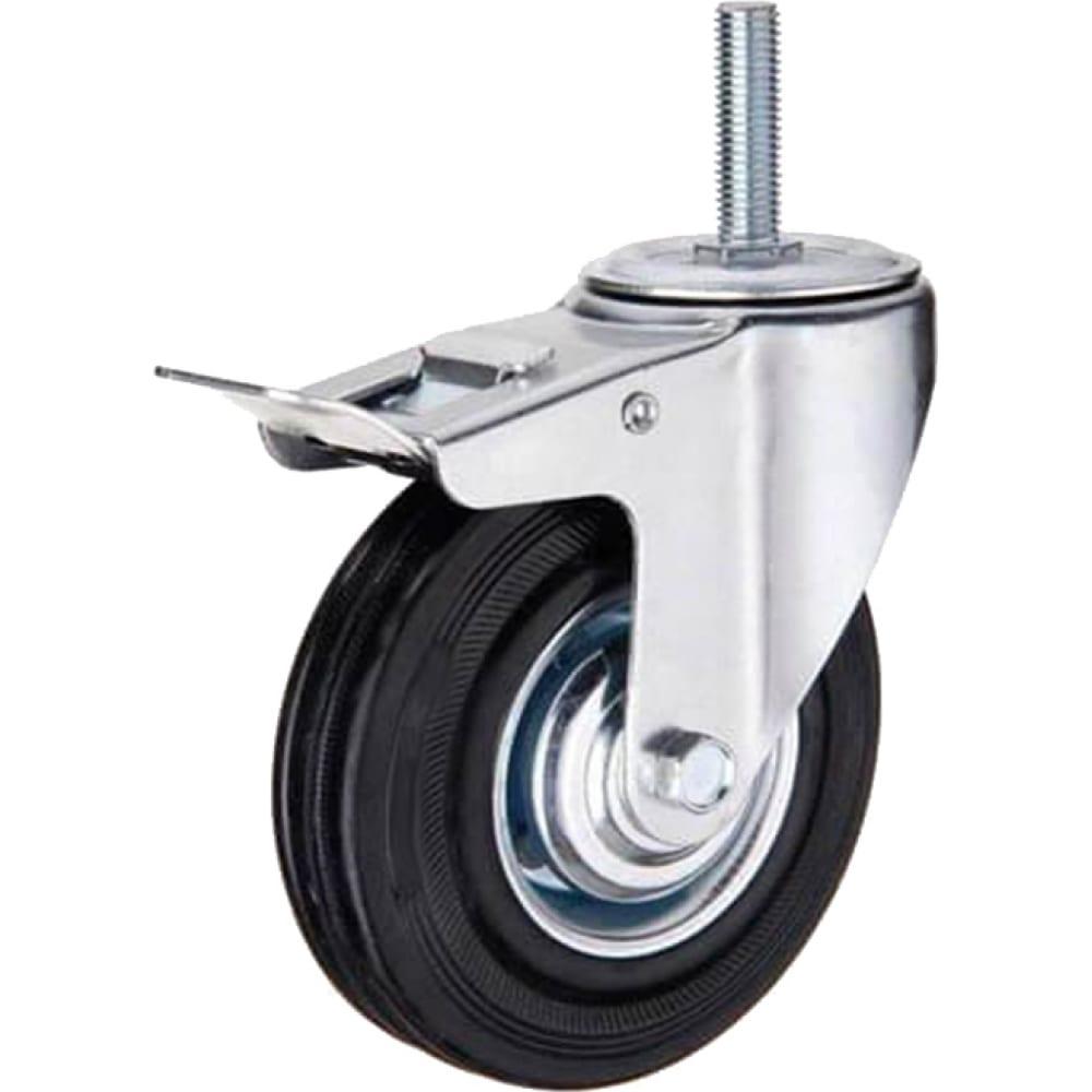 Купить Колесо промышленное поворотное крепление болтом м14 с тормозом sctb55 125 мм mfk-torg 4009125 м14